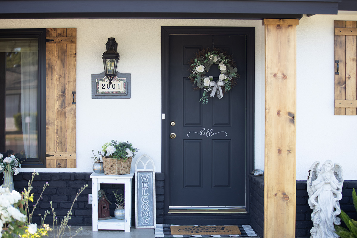Front door of new home fully decorated